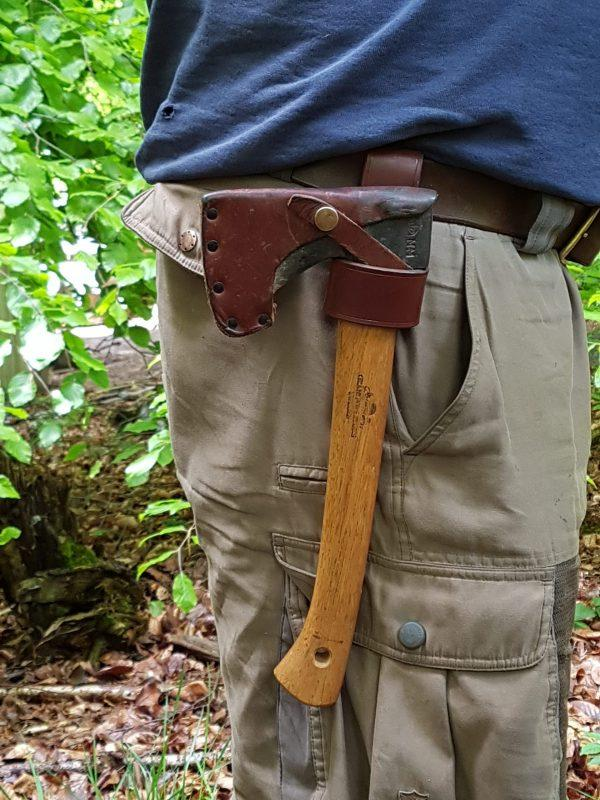 small leather axe loop in use