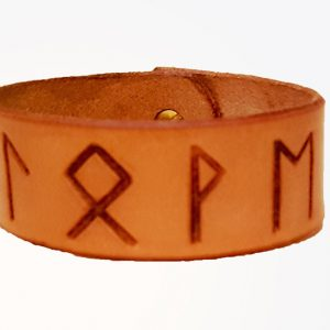 runic love cuff made from leather