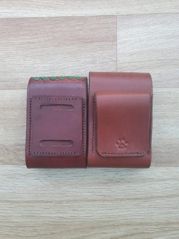 two brown leather pouches showing our two different belt loop options on the left is our flat loop with two slots allowing the pouch to be warn in its side, on the right we have a curved loop which is stitched from the insite then bent over and stitched again to form the loop
